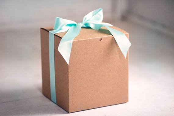 Set of 2 - 8x8x8.5 in Kraft Gift Boxes -Pinstripe or Solid Surface-  Balloon announcements, Will you be my bridesmaid, Gender Reveal