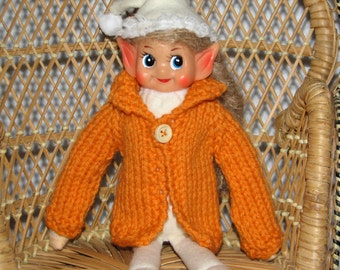 Elf Sweater - Hand Knit in Orange Wool - RTG