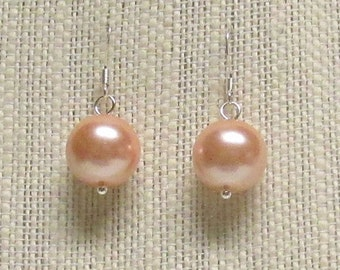 Peach Glass Pearl Earrings with Silver Plated Earwires