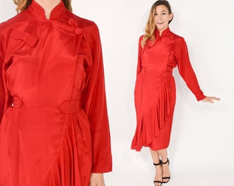 80s Bright Red Party Dress | Ruffle Dancing Dress, Medium