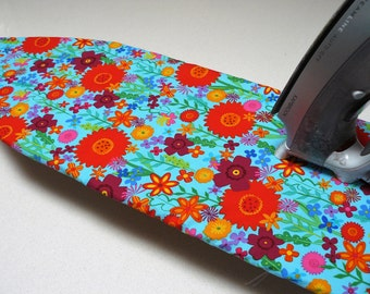 Ironing Board Cover TABLE TOP - bright and cheery spring flowers red orange yellow purple on aqua blue