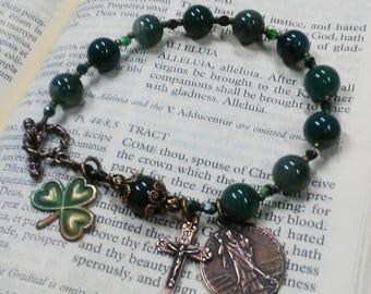 St Patricks Day Irish Rosary Bracelet - Green Shamrock, bronze st patrick medal, irish gift
