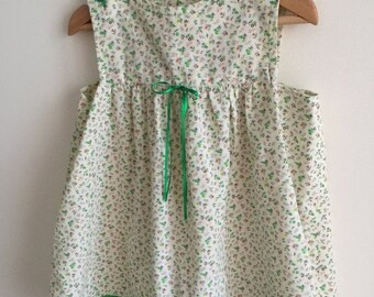 ON SALE vintage 60s baby dress/ditsy floral print/green cream /hippie boho baby little girl