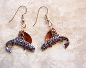 Copper Lure Salmon Charm Earrings, Fishing Enthusiast Earrings