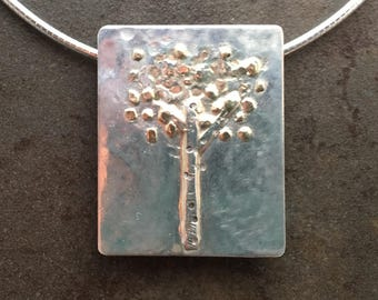 Large Tree of Life Gold and Sterling Metalwork Necklace Pendant