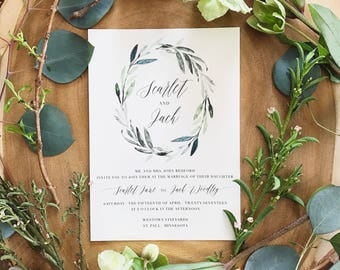 Scarlet Watercolor Greenery Wreath Wedding Invitation Suite with 100% Silk Taupe Ribbon Belly Band