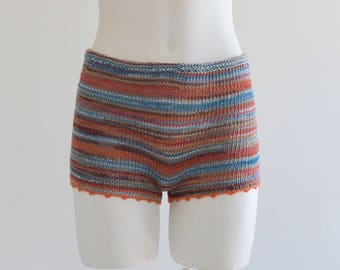 Hand knitted cotton shorts in blue/terracotta/pink salmon shades