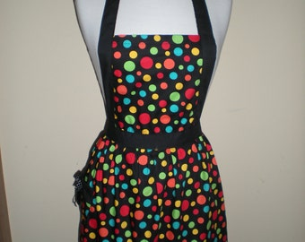 Candy striper style vintage apron multi-coloured dots great for kitchen teas bridal showers cotton fabric Ready to ship