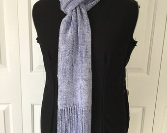 Handwoven Periwinkle Rayon Chenille Scarf