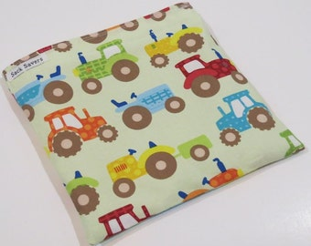 Reusable Sandwich And Or Snack Bag Tractor Snack Sandwich Bag Farm Reusable Bag