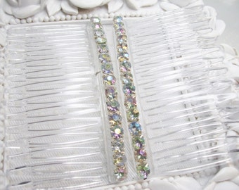 Aurora Borealis Clear Color Changing 4mm Rhinestones Side Hair Comb Pair