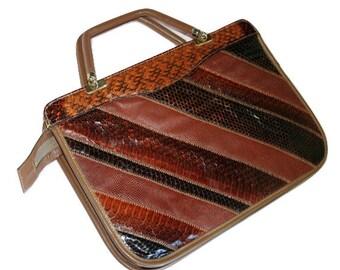 1970s Patchwork Brown Leather/Snakeskin Vintage Handbag by Caprice