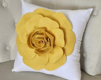 SALE Mellow Yellow Rose on White Pillow