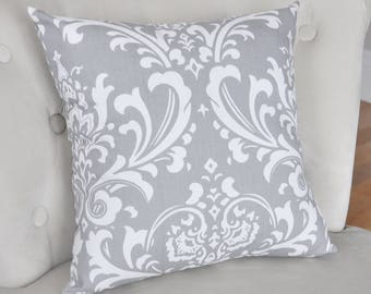 Decorative Pillow Covers, Storm Gray Pillow Cover, Gray Pillows, Zipper Throw Pillow Cover, Damask Grey Nursery Cushion Covers Gray Pillows