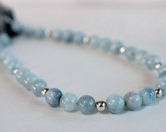 Statement Aquamarine Necklace Sterling Silver Blue Necklace Aqua Stone Necklace Classic Beaded Gemstone Necklace Birthstone Gift For Women