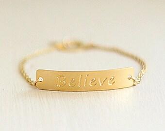 Believe Bracelet, Believe Jewelry, Valentines Gift, Word Bracelet, Inspiration Bracelet, Motivation Bracelet, Positive Inspiration, Quote