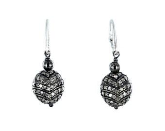 PAVE DIAMOND EARRINGS Sterling Silver 11mm