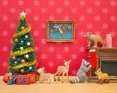 Christmas art print, woodland animal diorama: Cozy Christmas