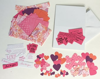 DIY Valentine Kit - preteen girl, make your own valentine cards - paisley, pink, orange, purple