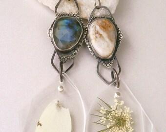 Luna Druzy Cabochon/Rose Cut Labradorite Cabochon/Carrot Flower Specimen/White Butterfly Wing Specimen Contraption Earrings