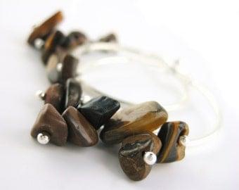 Womens Boho Earrings - Silver Tribal Jewelry - Tiger Eye Jewelry - Gift For Womens Bohemian Jewelry - Hypoallergenic Hoops - Nature Earrings