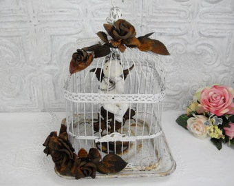 Vintage Bird Cage Rusty Roses Rhinestone Cherub Birdcage Chippy Metal Bird Cage Antique Shabby Chic Bird Cage Distressed Chalk Painted Roses