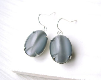 Grey Drop Earrings, Glass Jewelry, Silver Dangle, Simple Jewelry, Oval, Sterling Silver, Nickel Free Titanium Options, Pearlized