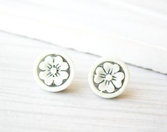 Nickel Free Jewelry - Ivory Post Earrings, Flower, Floral, Grey, Sweet, Vintage Acrylic, Titanium Studs