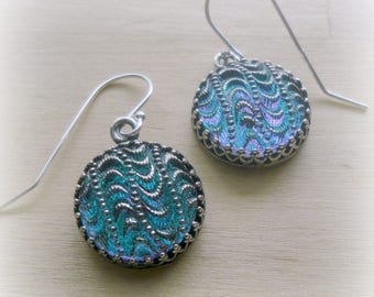 Blue Glass Earrings - Dichroic Glass Jewelry - Dichroic Glass Earrings - Ocean Jewelry - Wave Earrings - Wave Jewelry- Tropical Wedding