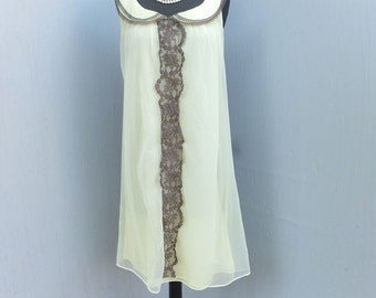 Vintage 60s Nightgown, Yellow and Brown, Flouncy Romantic Chiffon Nightie, Yellow Lingerie