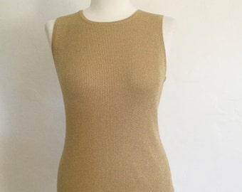 ON SALE Vintage 80s / Gold / Silk / Metallic / Casual Corner / Sleeveless / Sweater / Medium