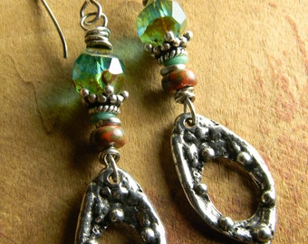 Boho Bohemian Earrings Artisan Pewter Sterling Silver Green Orange Czech Glass