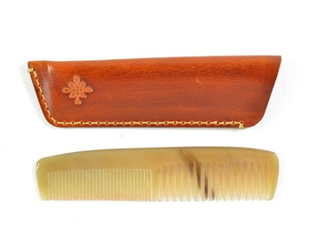 Handmade Double Tooth Horn Comb Vegetable Tan Brown Leather Sleeve Case