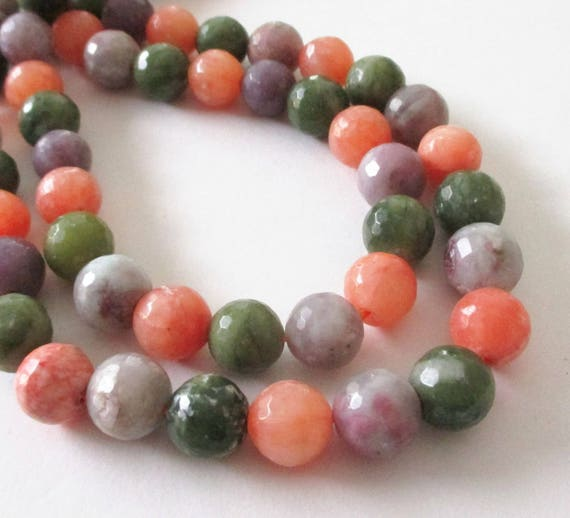 mix green orange purple beads faceted agate beads center drilled round ball stone. Black Bedroom Furniture Sets. Home Design Ideas