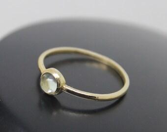 Labradorite Ring, 18k Solid Gold Ring, Thin Gold Ring, Stacking Ring, Stackable Ring, Gray Stone Ring