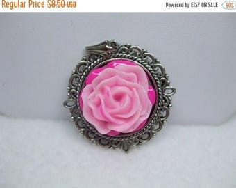 SALE 50% OFF Upcycled Cabochon Flower Necklace Lovely Rose Two Tone Pink