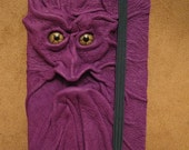 Grichels leather deluxe small notebook/sketchbook - royal purple with green star eyes