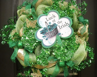 Shamrock Wreath, St Patricks Day Wreath, Deco Mesh Wreath, Shamrock Door Decor, St Patty Wreath