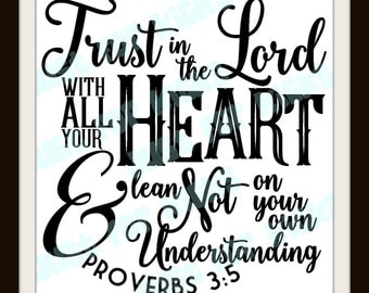 Proverbs 3 5 SVG Cut File | DXF, PNG
