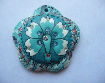 SALE!! Turquoise Clay Pendant 52x50mm. SALE!!