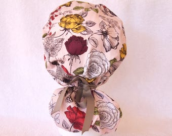 Scrub Cap - Ponytail Style - Surgical Scrub Hat - Surgical Scrub Cap, Ponytail Scrub Cap for Women, Raspberries, Flowers on Light Pink
