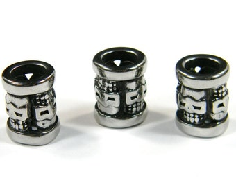 Skull Column Beads Stainless Steel For Leather & Paracord Bracelets and Lanyards
