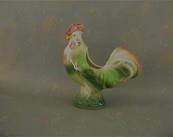 Vintage Ceramic Chicken Planter, vase, hen figurine, rooster