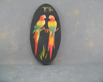 Vintage  Parrots wall hanging, plaster, tropical, Florida decor,  plaque
