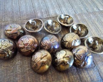 Set of 13 Vintage Heavy Cast Metal Gold Shank Dome Buttons with Armor Helmet