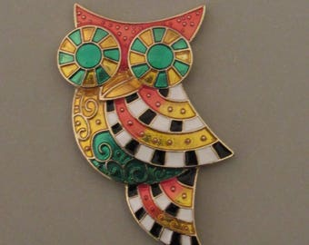 Colorful Enameled Owl Magnet