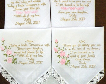 Embroidered Wedding Handkerchiefs Wedding Day Gifts Mother & Father of the Bride In-Law Set of Four Gifts Handkerchief By Canyon Embroidery