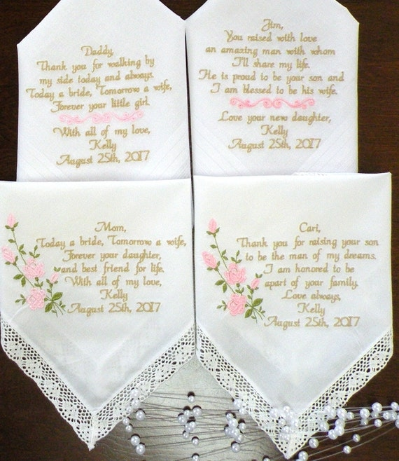 Embroidered wedding handkerchiefs day gifts mother