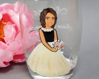 Hand Painted Personalized Bridesmaid gift glasses for Bridal Party Flower Girl Juice glass