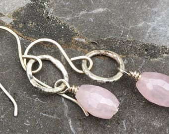 Sterling Silver Ear Wires and Hammered Ring with Faceted Rose Quartz Earrings